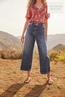 Mid Blue Savannah Miller Wide Leg Cropped Jeans