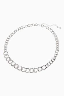 Silver Tone Pavé Chunky Chain Necklace