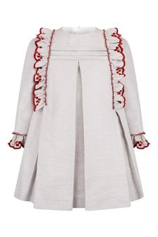 Girls Grey Frilly Trim Dress
