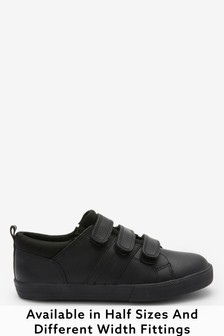 Black Standard Fit Leather Triple Strap Shoes (Older)