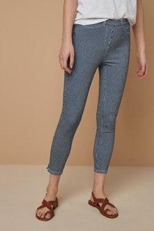 Dark Blue Stripe Jersey Cropped Leggings