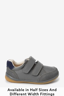 Grey Standard Fit (F) Leather First Walker Shoes