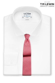 T.M. Lewin Non Iron White Twill Button Cuff Fitted Shirt