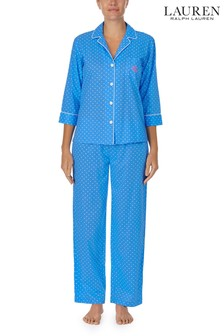 Lauren Ralph Lauren Blue 3/4 Sleeve Notch Collar Long Pant Pyjama Set