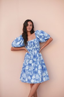 Blue Tie Dye Broderie Puff Sleeve Dress