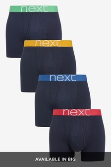 Navy Bright Waistband A-Fronts Four Pack