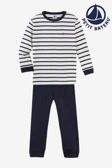 Petit Bateau Navy Iconic Rib Stripe Long Pyjamas