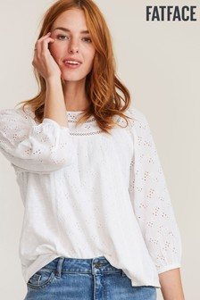 FatFace White Maisey Lace Top