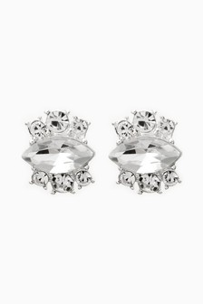 Silver Tone Crystal Effect Sparkle Stud Earrings