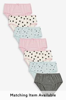 Cream/Pink/Green 7 Pack Scandi Briefs (1.5-12yrs)