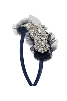 Girls Navy Diamanté & Tulle Headband