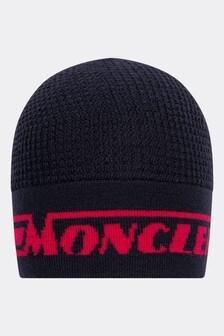Boys Navy Wool Logo Hat