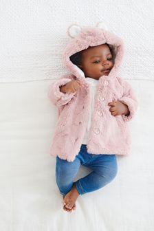 Pink Hooded Ears Cosy Button-Up Jacket (0mths-2yrs)