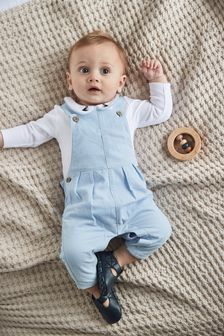Blue Smart Cord Dungarees And Jersey Bodysuit Set (0mths-3yrs)