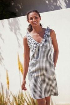Monochrome Gingham Linen Mix Ruffle Dress