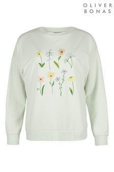 Oliver Bonas Meadow Floral Embroidered Mint Sweatshirt