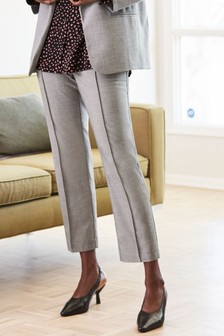 Grey Sharkskin Elastic Waist Trousers