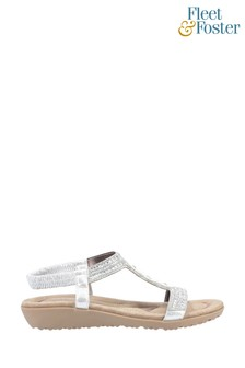 Fleet & Foster Silver Tabitha Slip-On Sandals