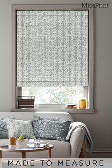 Muscat Small Matchbox Grey Made To Measure Roman Blind by MissPrint