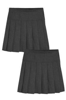 Grey Longer Length 2 Pack Pleat Skirts (3-16yrs)