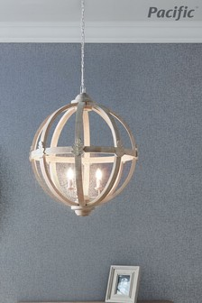 Javier Large Round Wooden Electrified Pendant by Pacific