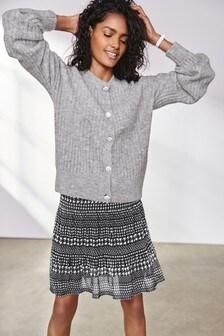 Monochrome Dogtooth Mesh Flippy Skirt