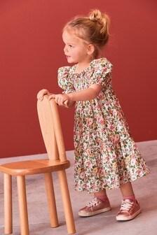 Ivory Floral Shirred Maxi Dress (3mths-7yrs)