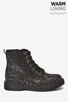 Black Glitter Lace-Up Boots (Older)