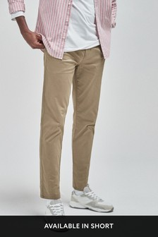 Stone Straight Fit Pleat Front Chinos