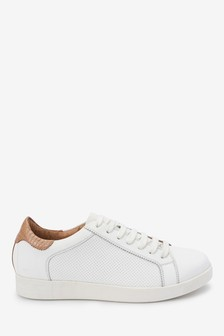 White With Tan Signature Leather Lace-Up Trainers