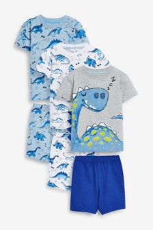 Blue 3 Pack Dinosaur Spikes Short Pyjamas (9mths-8yrs)