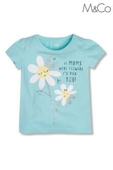 M&Co Girls Floral Slogan T-Shirt