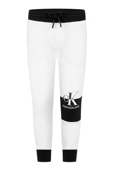 Calvin Klein Jeans Boys Black/White Organic Cotton Colourblock Joggers