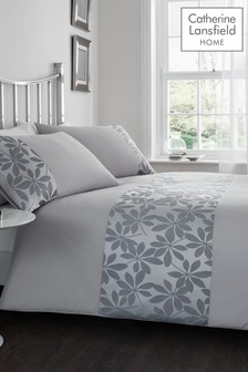 Ivory Leaf Duvet Cover and Pillowcase Set by Catherine Lansfield