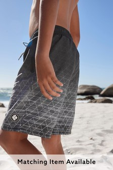 Black Geo Swim Board Shorts (3-16yrs)