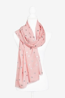 Pink Metallic Foil Star Scarf