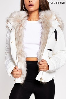 River Island Cream Short Chubby Padded Jacket