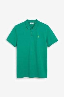 Green Regular Fit Pique Poloshirt