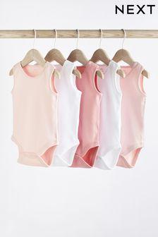 Pink 5 Pack GOTS Organic Cotton Vest Bodysuits (0mths-3yrs)