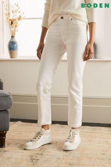Boden White Slim Straight Jeans