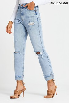 River Island Denim Light Carrie High Rise Ripped Heinz Jeans