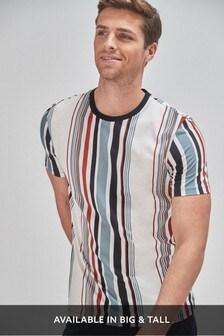 White Vertical Stripe Regular Fit T-Shirt