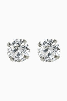 Sterling Silver Cubic Zirconia Large Stud Earrings