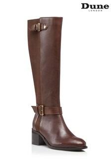 Dune London Tilda Brown Buckle Strap Boots