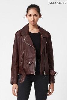 AllSaints Brown Luna Leather Biker Jacket