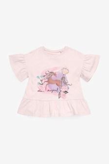 Pink Unicorn Organic Cotton Peplum T-Shirt (3mths-7yrs)