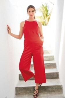Red Linen Blend Jumpsuit