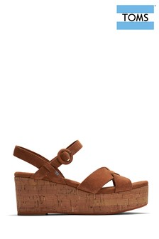 TOMS Brown Leather Willow Cross Strap Wedge Sandals
