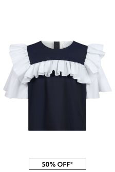 Jessie And James Girls Navy Boxy Blouse
