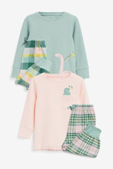 Pink/Green 2 Pack Dinosaur Pyjamas (9mths-8yrs)